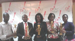 PPRAU officials dsplay some te the trophies and plques that will