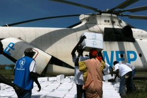 Unloading relief aid in South Sudan where the government has declared famine in some parts of the country.